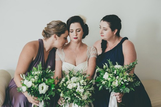 bridesmaid in purple and navy