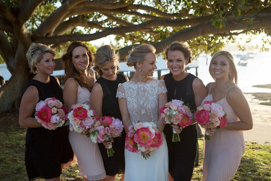 bridesmaids in pink and black