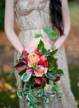 bright winter wedding bouquet