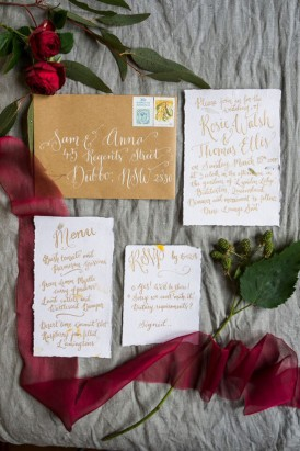calligraphy wedding stationery by Floralovely
