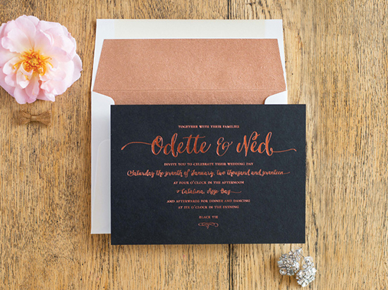 copper and black invitation simplethings press
