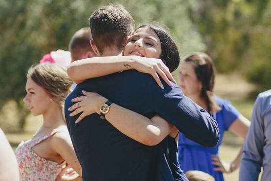 country wedding hugs