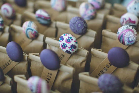favor bags with purple buttons