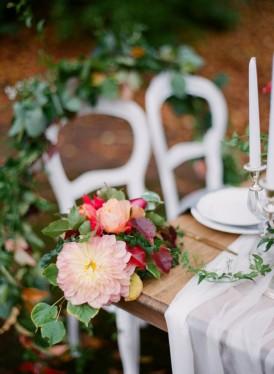 greenery and dahlias wedding