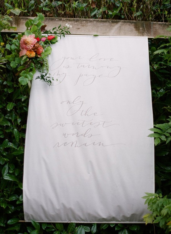 hand lettered wedding banner