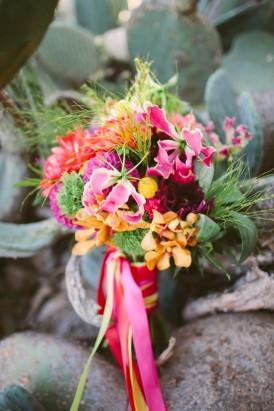 hot pink and orange wedding bouquet