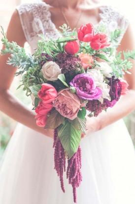magenta amaranthus bouquet
