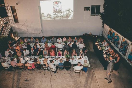 outdoor industrial wedding reception