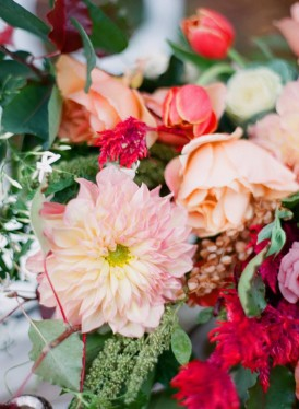 peach and red floral arrangement