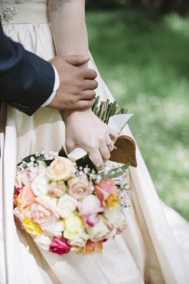 pink and peach wedding bouquet