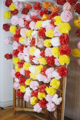pom pom wedding backdrop