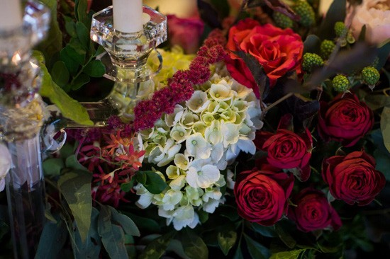 red roses hydranges and amaranthus