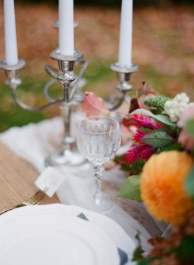 silver candlestick wedding setting
