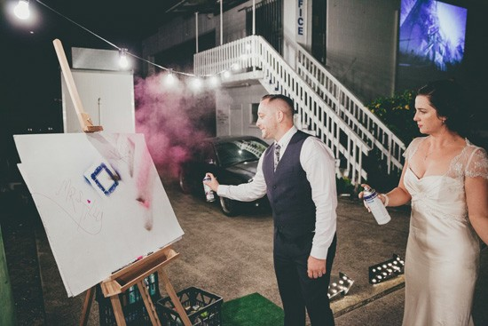 spray painting at wedding