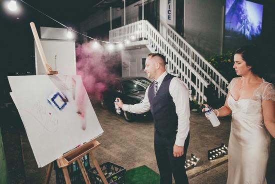spray painting at wedding