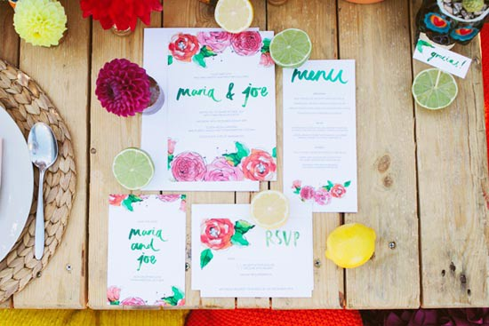 watercolour painted wedding stationery