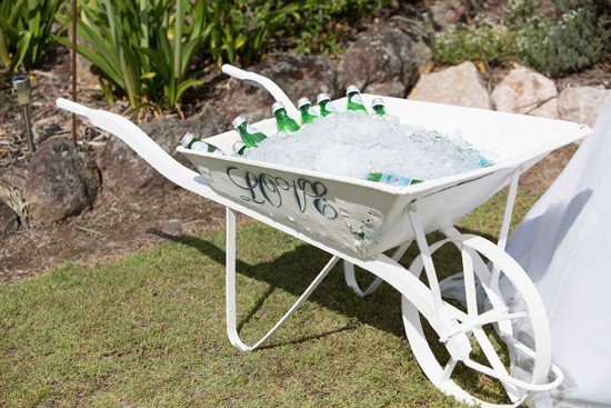 wedding drink wheelbarrow