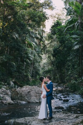 Babbling brook wedding photo