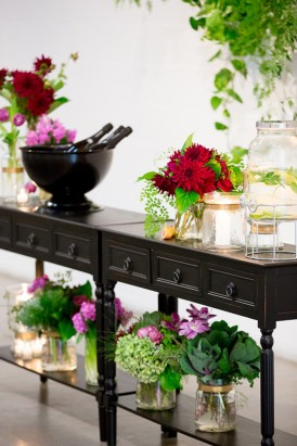 Black dresser with flowers