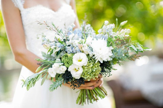 Bouquet with olice branches and green hydrangeas