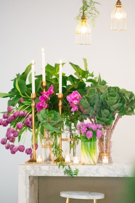 Brass Candlesticks with orchid flwoers