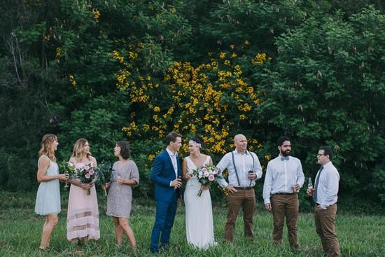 Bridal aprty at forest wedding