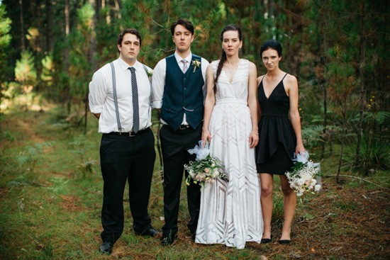 Bridal party in forest wedding