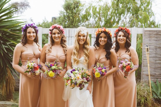 Bride and bridesmaids with floral crowns