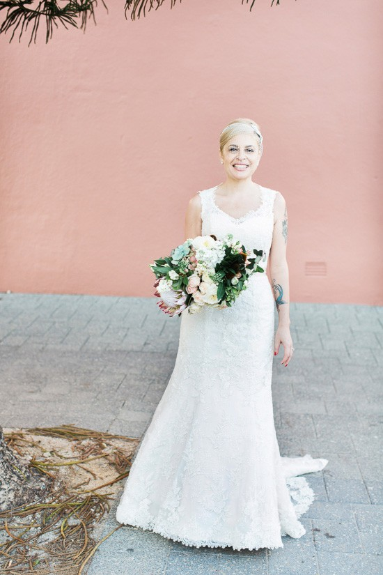Bride in lace wedding gown