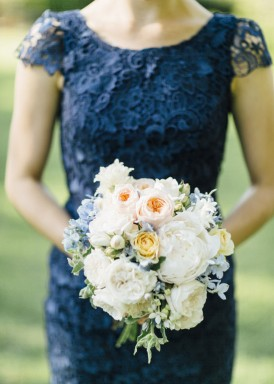 Bridesmaid in Navy lace dress