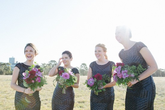 Bridesmaids in Black Sewuin Gowns