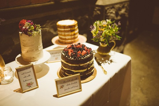 Cake table at industrial wedding