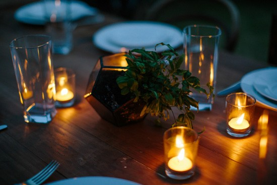 Candlelit pine forest wedding