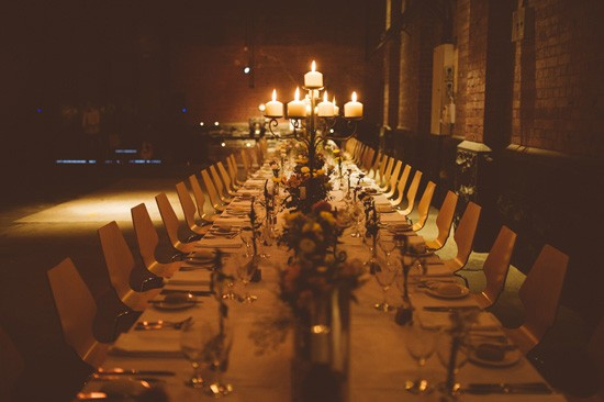 Candlit industrial wedding venue