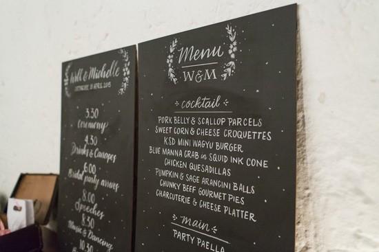 Chalboard wedding menus