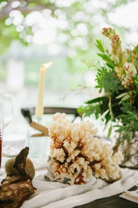 Coral wedding decor