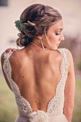 Deep Cut lace Wedding gown