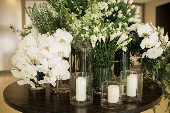 Different white flowers at wedding