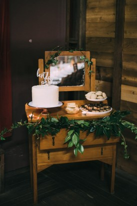 Dresser with wedding cakes