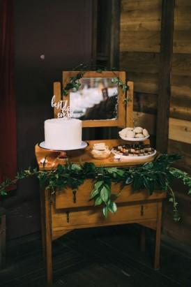 Dresser with wedding cakes