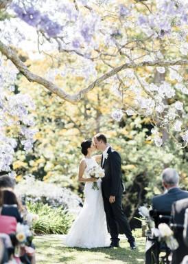 First kiss at clovelly estate wedding