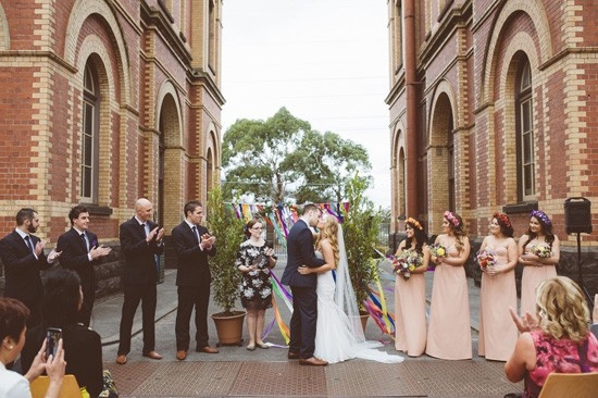 First kiss at industrial wedding