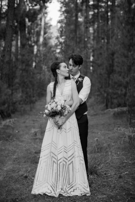 Forest Wedding Portrait in Black and White