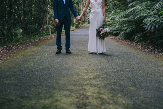 Forest road wedding photo