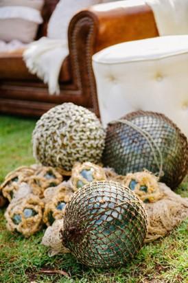 Glass buoys at wedding