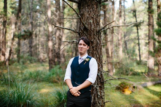 Groom in Forest Wedding