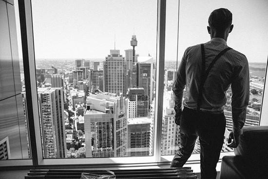 Groom looking over Sydney
