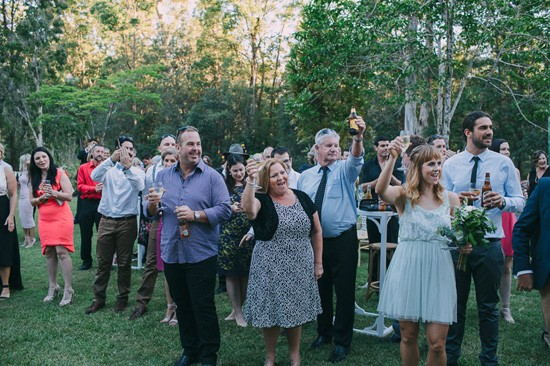 Happy guests at mountain wedding