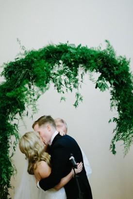 Indoor greenery wedding arch