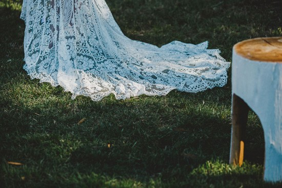 Lace train of lover dress